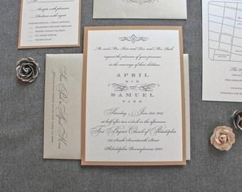 Champagne Gold Formal Pocket Wedding Invitations | April & Sam