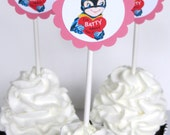Valentine Cupcake Toppers - Vintage Batty About You,  Set of 12