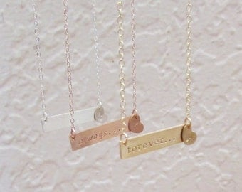 Gold Nameplate Necklace, Personalized Necklace, Hand Stamped Jewelry, Customized Name Necklace, Gold Bar Necklace, Rose Gold Bar Necklace