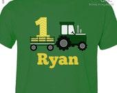 Tractor birthday shirt - green yellow chevron personalized birthday shirt - plow tractor DARK birthday Tshirt