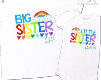 Big sister shirt, little sister shirt - adorable colorful rainbow and hearts matching sibling set