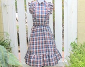 VIntage Western Dress, Sleeveless Blue and Brown Plaid 1970s Button Front Dress with Ruffled Neck and Shoulders