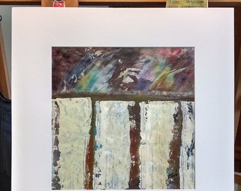 Structures, Original Abstract Painting, 12x12 inches on paper, matted to 18x18 inches, neutral colors, modern art by Artist Karen Koch