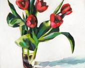 Tulips -Bouquet of flowers in a vase - original acrylic painting on mdf  - wall art- wall decor- red flowers -Still Life Painting