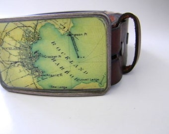 Rockland Harbor  Maine belt buckle- gift boxed