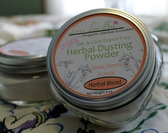 Organic Body Powder. Herbal Calendula, Chamomile and Lavender Body Dusting Powder. 4 oz. with dusting puff