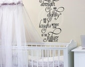 She is clothed in strength and dignity and she laughs without fear of the future  proverbs 31:25 wall saying vinyl lettering decal  nursery