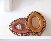 small oval wall mirror orange faux wicker frame homco