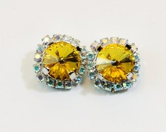 Yellow Clip Earrings Crystal clip on Canary Yellow Rhinestones AB Halo Clip Earrings Swarovski Yellow Wedding Silver finish,Sunflower,SE97
