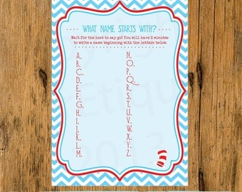 INSTANT UPLOAD  Baby Shower Game Chevron Dr. Suess Cat in The Hat Inspired - Guess What Mom Answered Baby Shower Game, Baby Shower Game