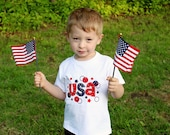 USA shirt, 4th of July Shirt, Patriotic Shirt, Shirt or One Piece Bodysuit-4th of July, Summer Embroidered Shirt, LDM