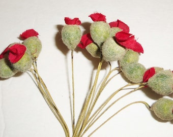 Vintage Red Millinery Flowers Poppy Buds Flocked Pod Stamen wired hat floral crown DIY Supplies
