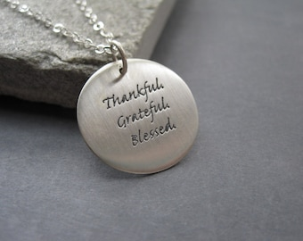 Sterling Silver Thankful Necklace  -Sterling Silver Holiday Necklace - Thanksgiving Hostess Gift - Round Sterling Silver Necklace