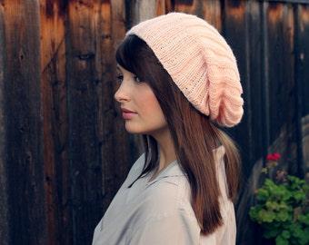 Pastel Slouchy Knit Beanie // Fall Pastel Blush Accessories// Pastel Knit Beanie Hat // Slouchy Beanie// Slouchy Hat // Slouch Beanie