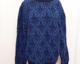 sale Blue Wool Knit Ski Sweater / Nordic Pattern Pullover in Black on Blue