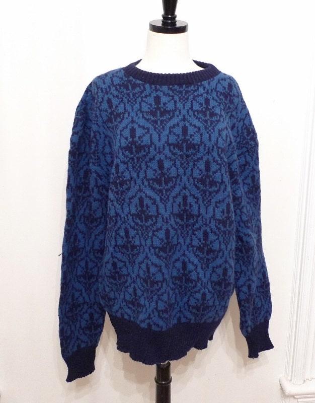 sale Blue Wool Knit Ski Sweater / Nordic Pattern Pullover in