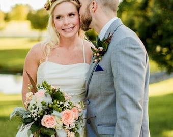 Spring bridal flower crown wedding hair wreath accessories Woodland party headpiece orange brown yellow halo accessories rustic chic garland