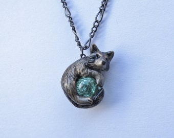 Raccoon Necklace Pendant Polymer Clay