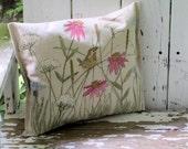 Painted Pillow Functional Art Botanical Garden Flower with Bird