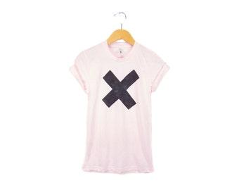 X Marks the Spot Tee - Boyfriend Fit Crew Neck Tshirt with Rolled Cuffs in Powder Pink - Women's Size S-4XL