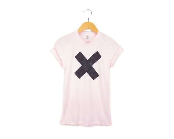 X Marks the Spot Tee - Boyfriend Fit Crew Neck Tshirt with Rolled Cuffs in Powder Pink - Women's Size S-4XL