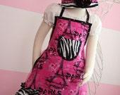 Kids Apron - Kids Ruffle Apron - Hot Pink Paris