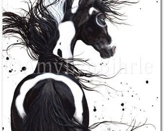 Majestic Horse Black White Pinto Paint Native Spirit- ArT Prints by Bihrle mm108