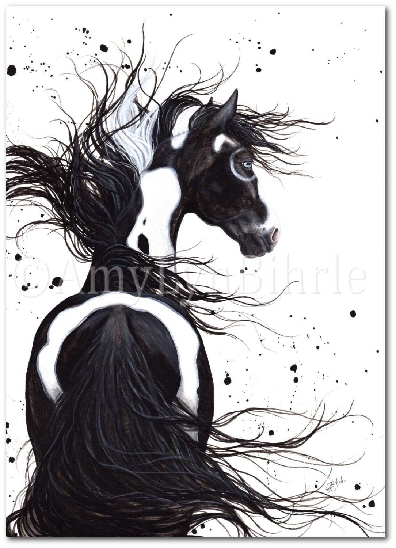 Majestic Horse Black White Pinto Paint Native Spirit Art