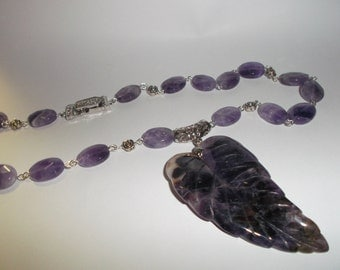 Hand Carved Amethyst Gemstone Leaf Necklace