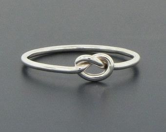 Love knot ring, sterling silver ring, promise ring, commitment ring, purity ring, friendship ring, 16 gauge