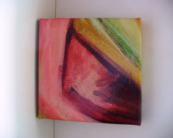 Abstract Painting Mini Art Bright Colorful Pink Contemporary 10 x 10