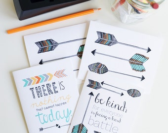 Inspirational quote, Arrows, Native American, Set of Four Folded Note Cards, Stationery, Hand Drawn, Illustration, Feathers