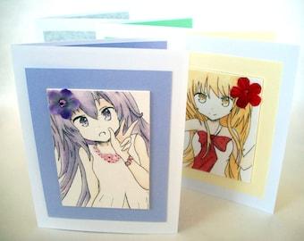 Anime cards - Japanese girls -  ACEO  - Four Seasons - teen birthday card - set of cards