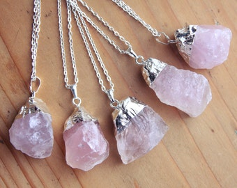 Silver Dipped Rose Quartz Crystal Necklace - Raw Chunky Large Rough Pastel Pink Lilac with Sterling Silver Plated Chain, Natural Layering