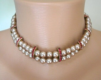 MOCHA Pearls, Choker, Backdrop Necklace, Pearl Necklace Art Deco Great Gatsby Pearl Choker Pearl and Ruby Necklace Upcycled Vintage Ruby Red