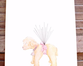 X- Small Hand painted Lamb Fingerprint Guest book,  with balloon strings, 3 ink colors, Custom Order