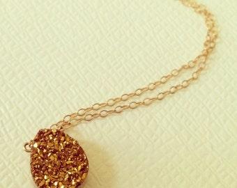 Gold Agate Drusy Quartz Pendant Necklace