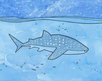 Whale Shark ocean watercolor ink illustration print 8x10