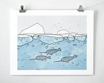 Narwhal Nursery Art Print - 11x14 Arctic art, cute narwhals drawing