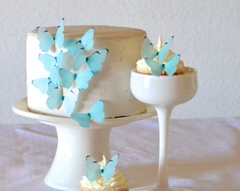 24 EDIBLE Baby Blue or Pink Butterflies  -  Cake & Cupcake toppers - Food Decorations - PRECUT and Ready to Use