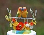 Sun Conure Tropical Love Birds handmade wedding cake topper