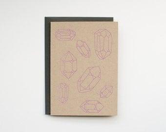 Crystals - Blank Card - Thank You - stationery - screen printed - kraft - boho - rustic - modern - amethyst - hippie