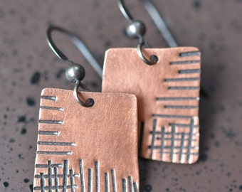 Square Copper Hammered Earrings