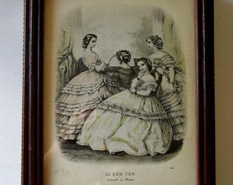 Boudoir Jewelry or Make-up Mirrored Box LE BON TON Journal de Modes 1800s French Fashion Illustration