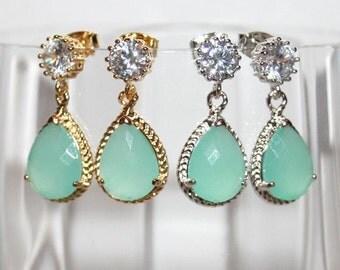 Mint Drop Earrings for Statement,Mint Bridal Earrings,Rhinestone Mint Pear drop Earrings,Beach Wedding,Mint Opal Earrings,Wedding Jewelry