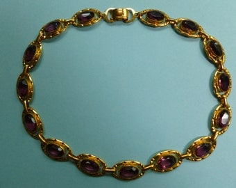 STORE CLOSING SALE German Art Deco Gold Gilt and Amethyst Glass Necklace