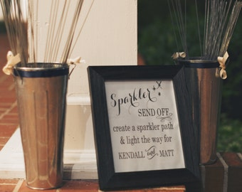 Wedding Sign. DIY Sparkler Send Off with Bride & Groom Names. Reception Card, Custom Typography Art, Printable File.