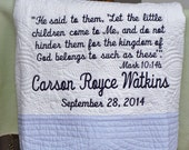 Custom order for Ruth Baby Dedication Quilt - White Quilt with Blue Trim for Personalization