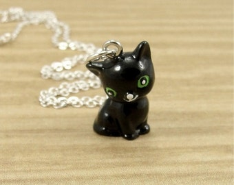 Black Cat Necklace, Black Cat Charm on a Silver Cable Chain