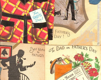 1930s-40s Father's Day Cards - Vintage War Era Greeting Card Set of Four Nostalgic Scrapbooking Party Supply Mixed Media Altered Art Project